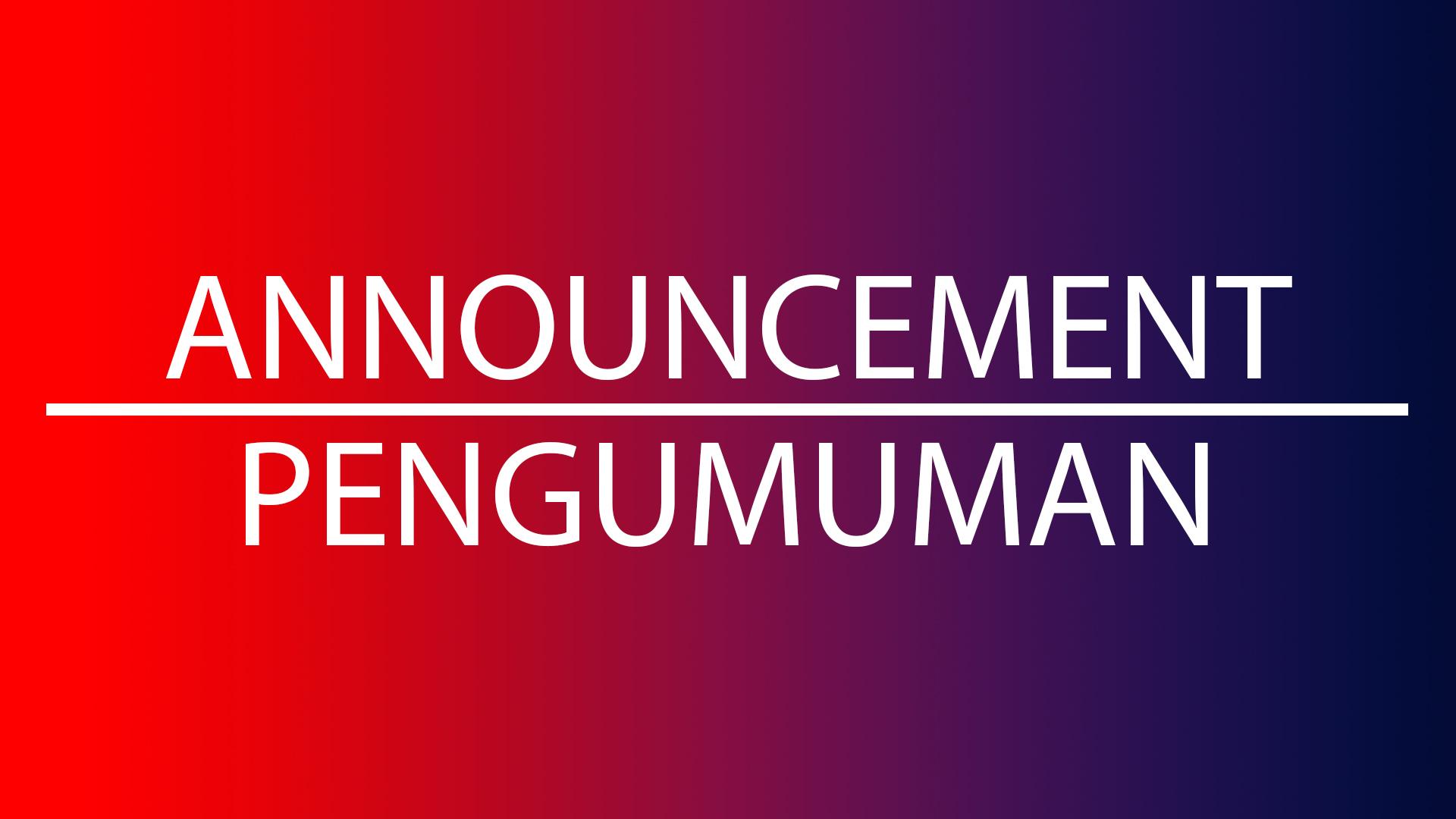 Pengumuman Libur Tanggal 8 – 10 April 2019