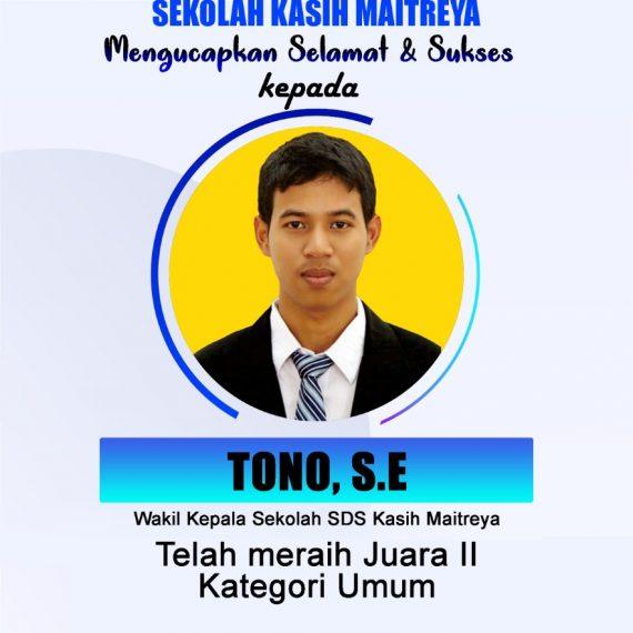 Selamat & Sukses Kepada Tono, S.E Juara 2 AGRI Writing Competition 2020